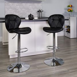 Contemporary Black Vinyl Adjustable Height Barstool with Diamond Stitched Back and Chrome Base