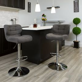 Contemporary Tufted Dark Gray Fabric Adjustable Height Barstool with Chrome Base