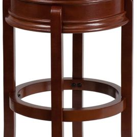 29'' High Backless Light Cherry Wood Barstool with Carved Apron and Black LeatherSoft Swivel Seat