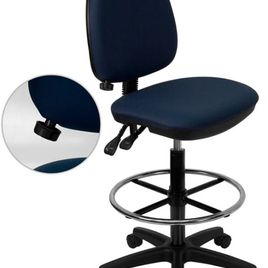 Mid-Back Navy Blue Fabric Multifunction Ergonomic Drafting Chair with Adjustable Lumbar Support