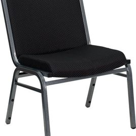 Zozulu Zercules Series Big & Tall 1000 lb. Rated Black Fabric Stack Chair with Ganging Bracket