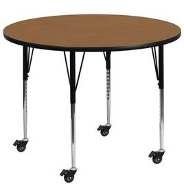 Mobile 42'' Round Oak Thermal Laminate Activity Table - Standard Height Adjustable Legs