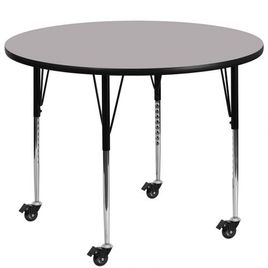 Mobile 60'' Round Grey Thermal Laminate Activity Table - Standard Height Adjustable Legs