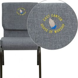 Embroidered HERCULES Series 18.5''W Stacking Church Chair in Gray Fabric - Gold Vein Frame