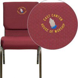 Embroidered HERCULES Series 18.5''W Stacking Church Chair in Burgundy Patterned Fabric - Gold Vein Frame