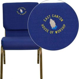Embroidered HERCULES Series 18.5''W Stacking Church Chair in Navy Blue Fabric - Gold Vein Frame