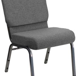 HERCULES Series 21''W Stacking Church Chair in Gray Fabric - Silver Vein Frame