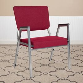 HERCULES Series 1500 lb. Rated Burgundy Antimicrobial Fabric Bariatric Medical Reception Arm Chair with 3/4 Panel Back