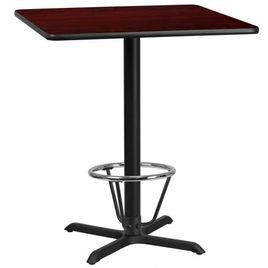 36'' Square Mahogany Laminate Table Top with 30'' x 30'' Bar Height Table Base and Foot Ring