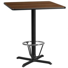 36'' Square Walnut Laminate Table Top with 30'' x 30'' Bar Height Table Base and Foot Ring