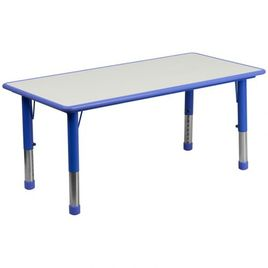 Zozulu 23.625''W x 47.25''L Rectangular Blue Plastic Height Adjustable Activity Table with Grey Top