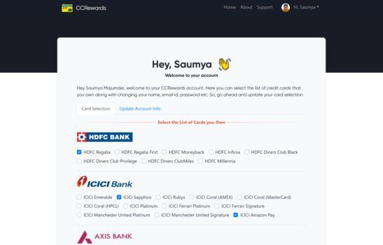 CCRewards - Account page Screenshot
