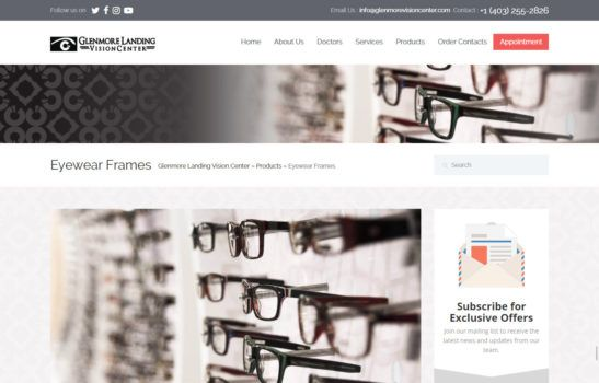 Glenmore Landing Vision Center Eye Ware Products Page