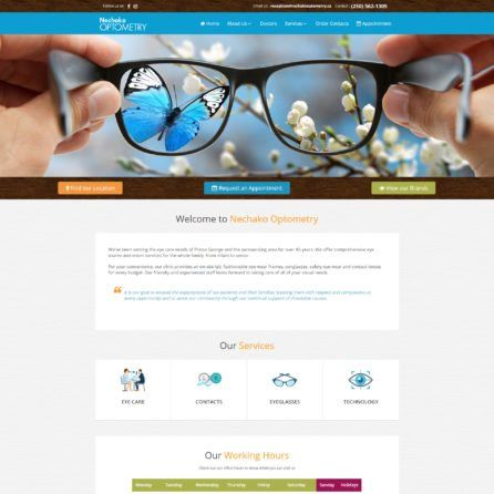 Nechako Optometry - Website Screenshot