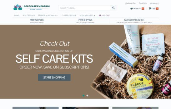 Self Care Emporium - Home Page Screenshot