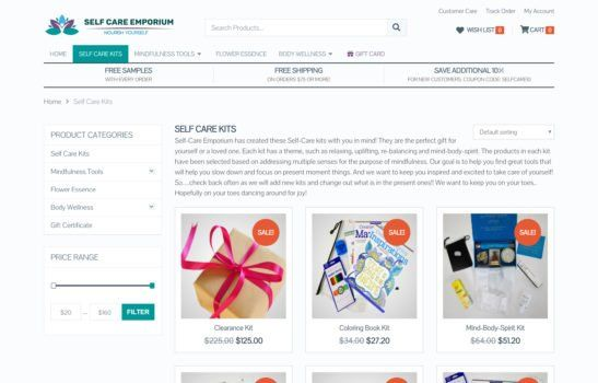 Self Care Emporium - Product Category Page Screenshot