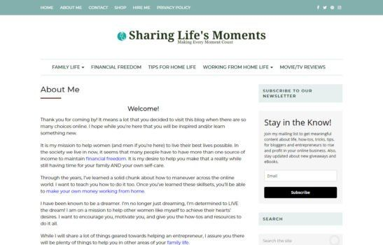 Sharing Life's Moments - About Page Screenshot