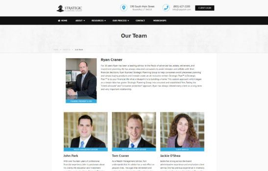 Strategic Planning Group - Team Page Screenshot