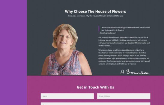 The House of Flowers - Why Choose Us Section Screenshot