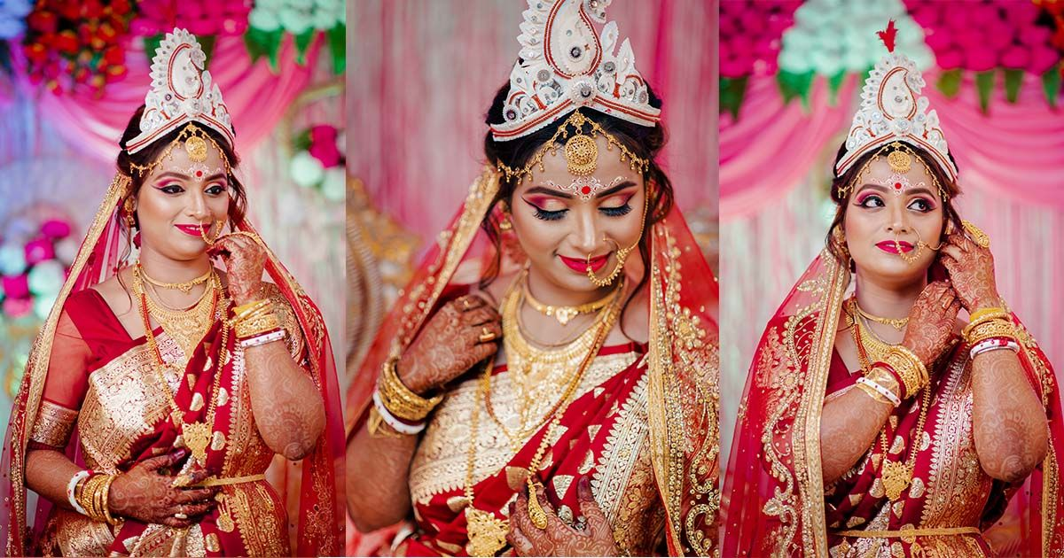 Bengali bride look with the latest gold jewellery designs for wedding