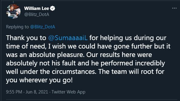 SumaiL departs from Team Liquid as a stand-in