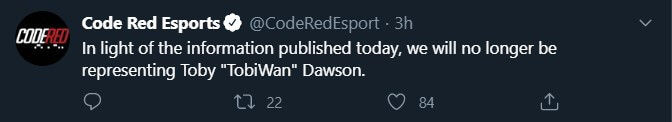 Code Red Esports Cuts ties with TobiWan