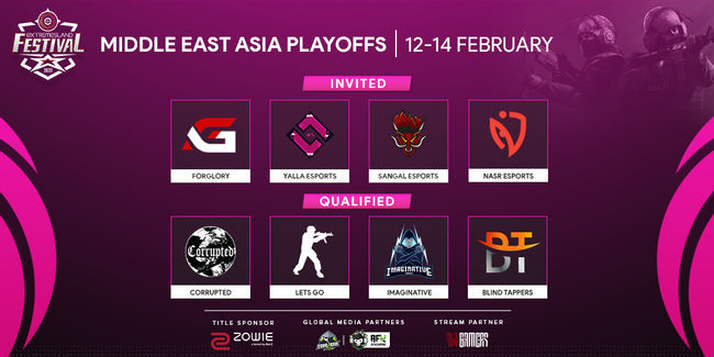 All teams participating in ZOWIE eXTREMESLAND CS:GO Festival 2020 - Middle East