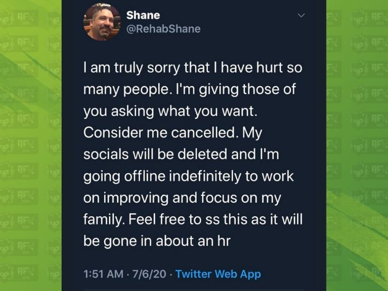 Omen Shane Deletes Social Media Accounts After Apology
