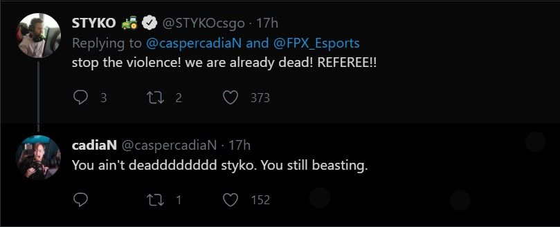 STYKO from FPX responds to cadiaN's tweet