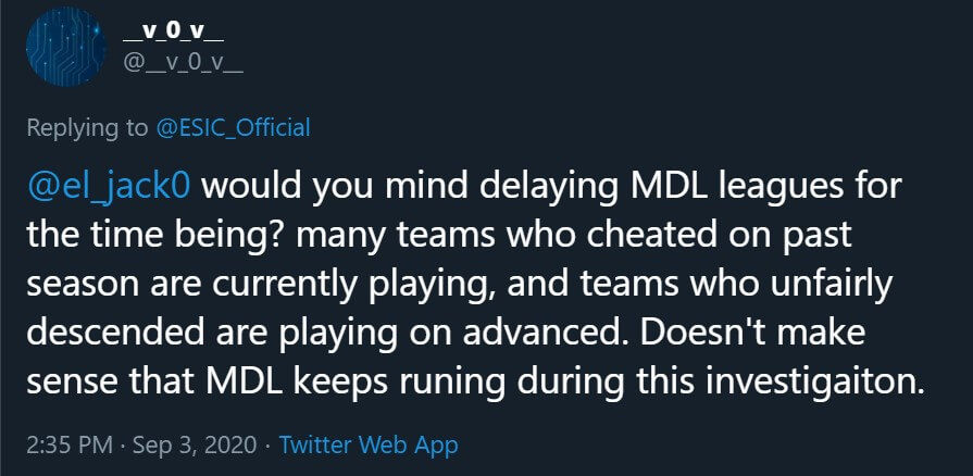User requesting current season of MDL to be delayed till after the investigation