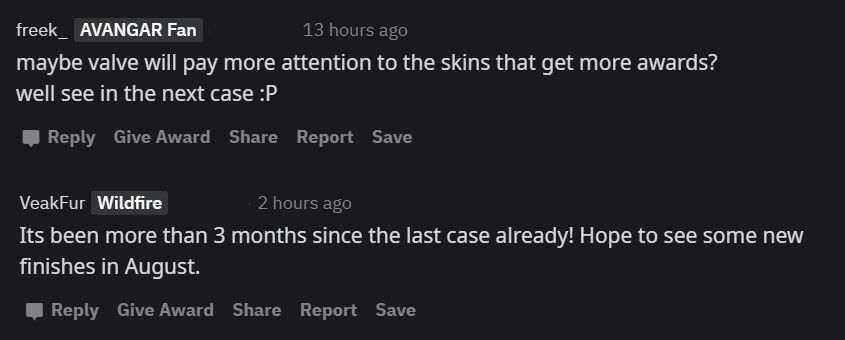 Community praising the colour changing skins