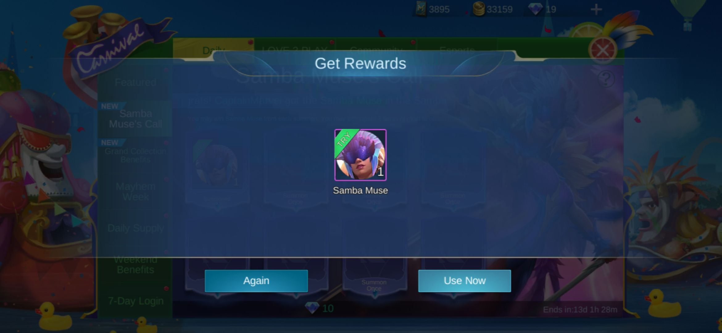 Obtain trial cards, skin fragments and more in the Samba Muse Draw Event in Mobile Legends.