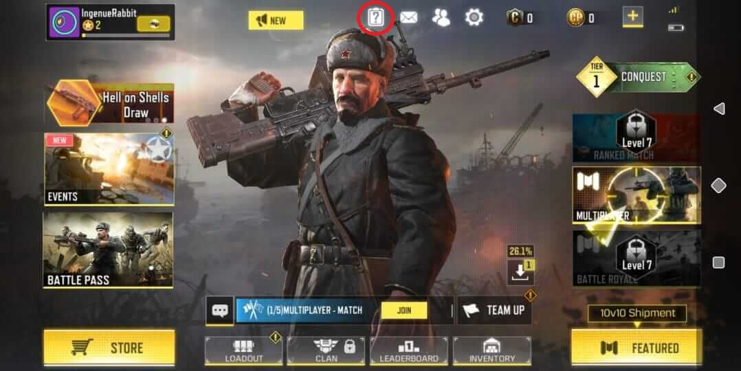 Call of Duty: Mobile Main Menu