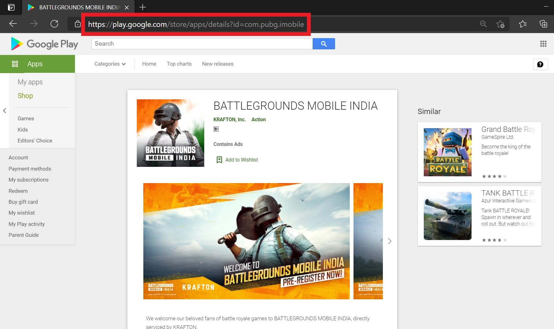 PUBG Mobile spotted in Google Play Store URL for Battlegrounds Mobile India