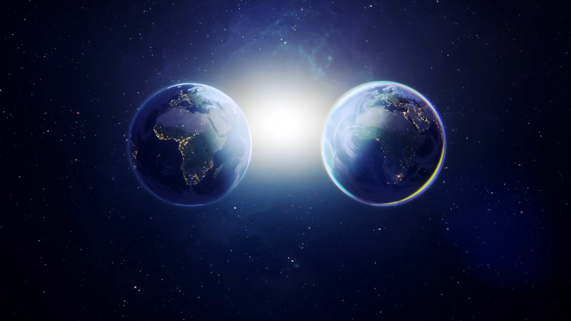 Original Earth on the left, Mirrored Earth on the right