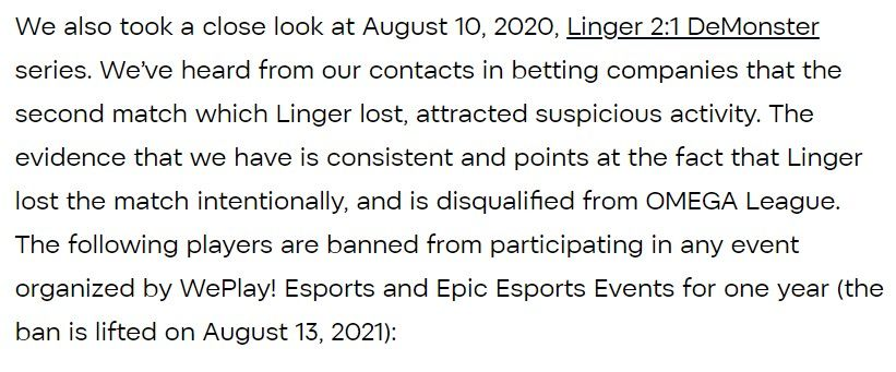 WePlay!'s statement on Linger