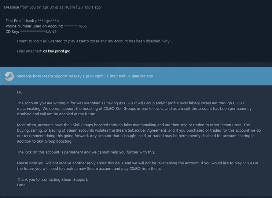 Official Steam Support Message