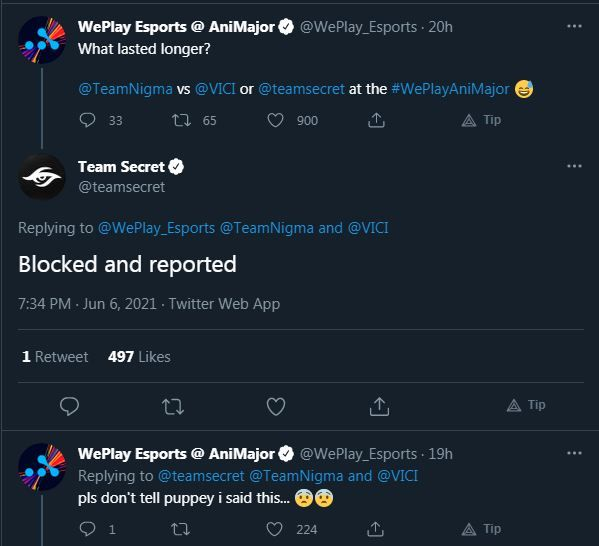 Team Secret and WePlay Esports Twitter Banter