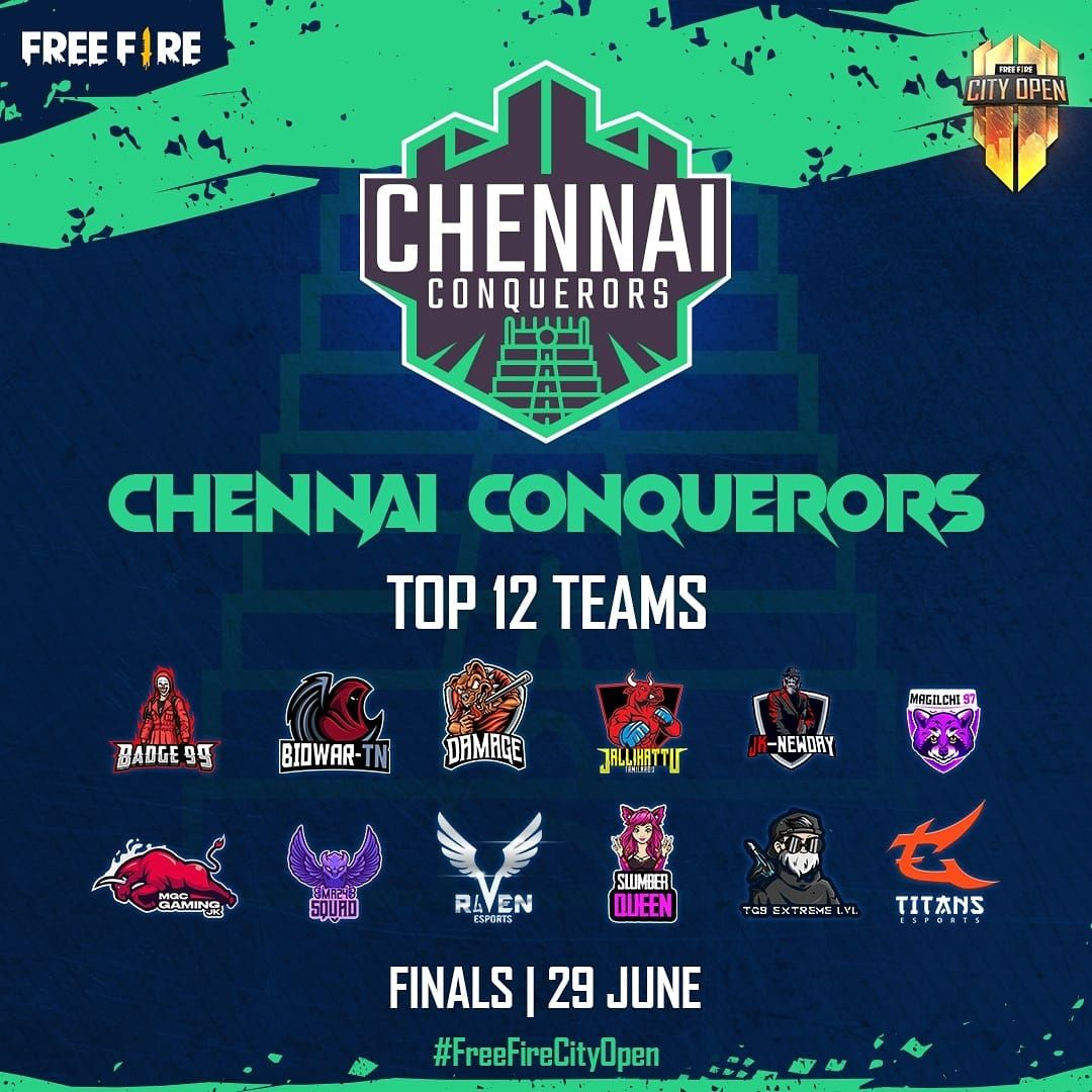 Free Fire City Open (FFCO) 2021 - Qualified Chennai Teams