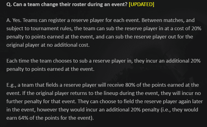 Valve's rules about subs, reserve players for the 2021 RMR Events