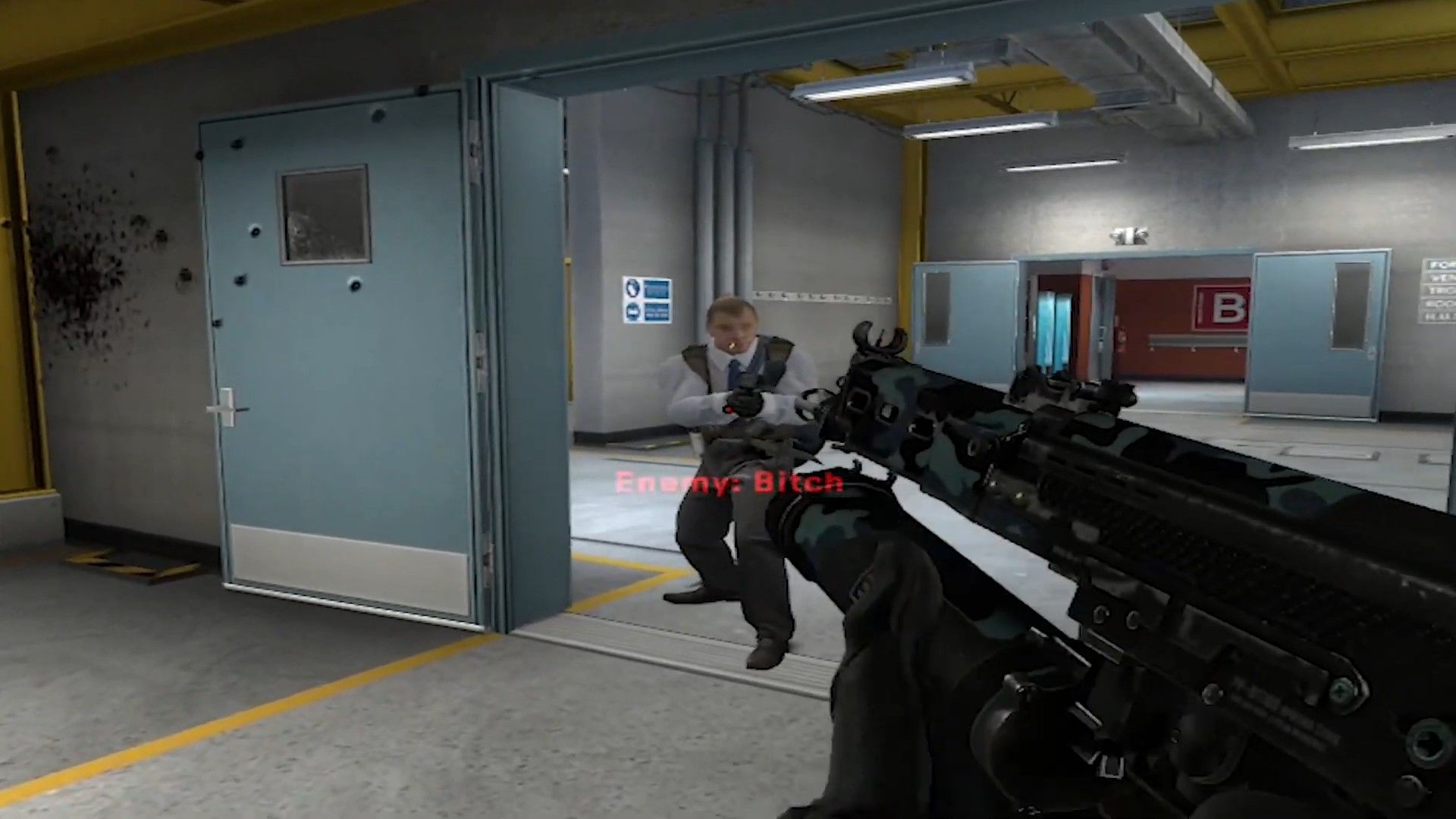 Gets shot by the Deagle while reloading his P90