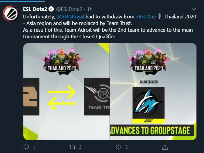 Adroit Qualifies for ESL One Thailand 2020