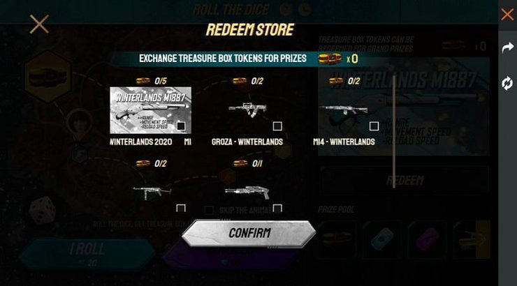 Free Fire: How to Obtain Winterland M1887 Shotgun in Roll the Dice Event
