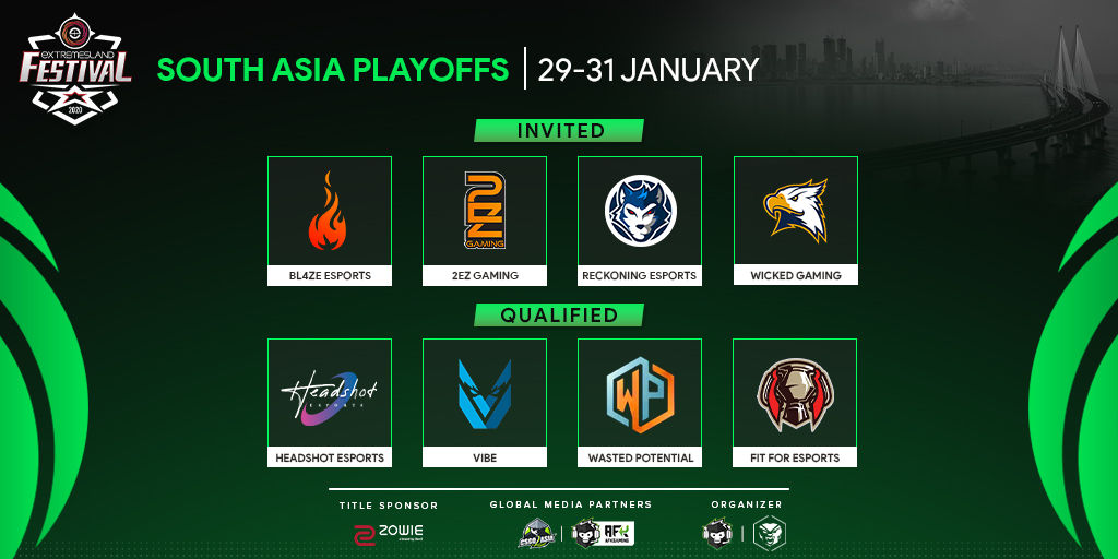 Teams participating in ZOWIE eXTREMESLAND CS:GO Festival 2020: South Asia
