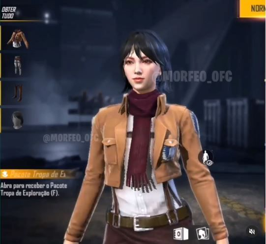 The Free Fire Survey Corps Bundle for Female Version is based on Mikasa Ackerman.