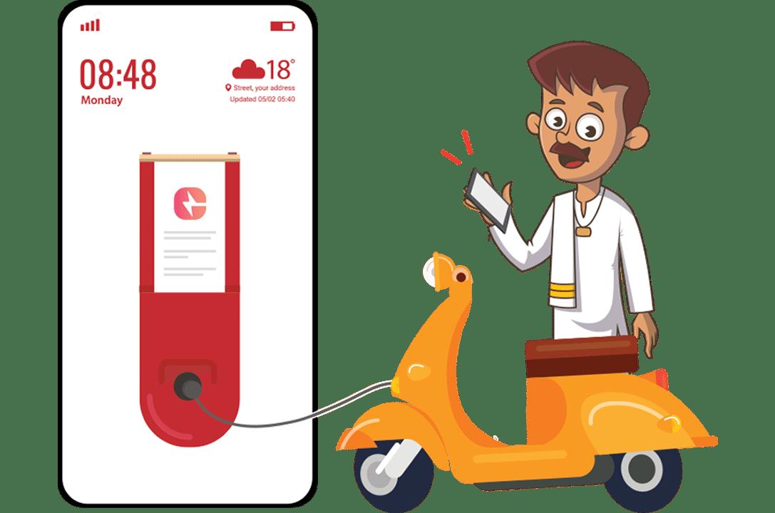 Charging scooter via EV Charging App