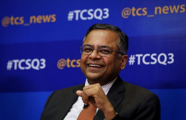 FILE PHOTO: Tata Consultancy Services (TCS) Chief Executive N. Chandrasekaran speaks during a news conference in Mumbai January 16, 2014. REUTERS/Danish Siddiqui/Files