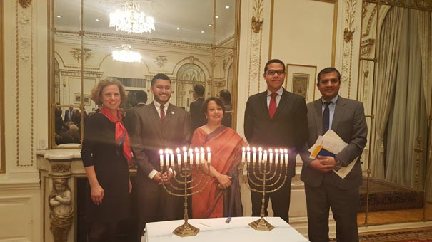 The Consulate General of India in New York celebrated Hanukkah Jan. 9 on its premises. Consul General of India in New York, Riva Ganguly Das, center, with New Jersey Assemblyman Raj Mukherjee, second from left; Shimon Mercer-Wood, spokesperson and consul for Media Affairs at the Consulate General of Israel in New York, second from right; and Nissim B. Reuben, assistant director, Global Jewish Advocacy in Washington, D.C., right.