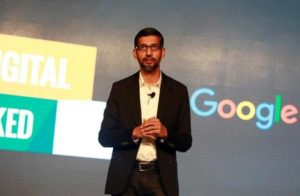Google CEO Sundar Pichai speaks on stage during a Google event in Delhi, January 4, 2017. REUTERS/Cathal McNaughton/Files