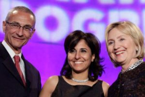 Former Secretary of State Hillary Clinton (R) poses with President of the Center for American Progress (CAP) Neera Tanden (C) and CAP founder and Chairman John Podesta at the 10th Anniversary policy forum in Washington, October 24, 2013. (Photo: REUTERS/Yuri Gripas)
